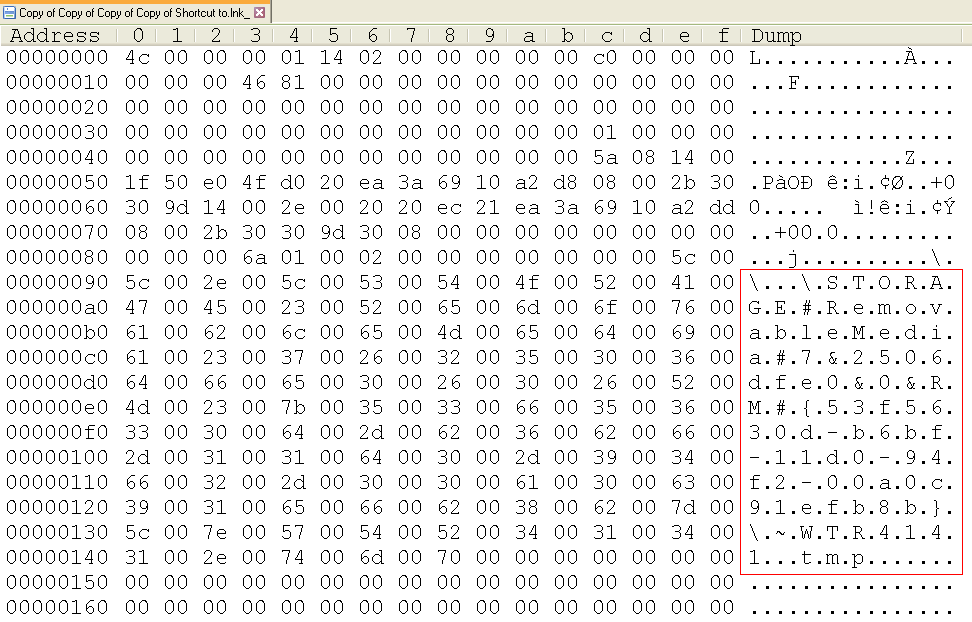 Hex Editor LNK File